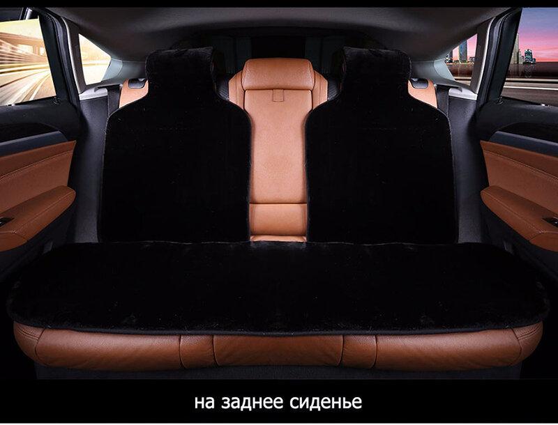 Car Seat Covers Set Black Faux Fur Cute Car Interior Accessories