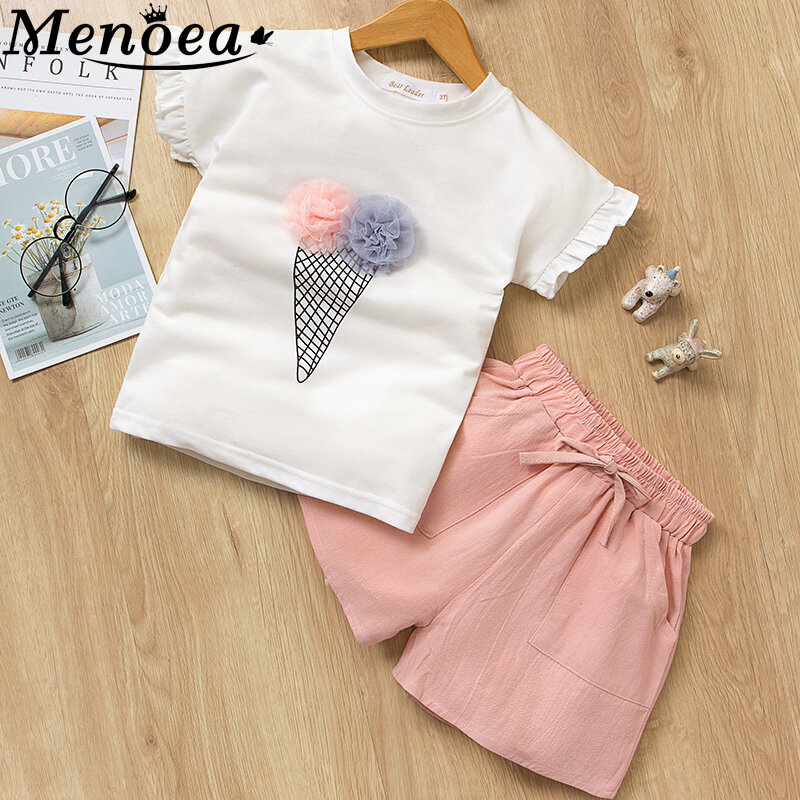 Little Girls Clothes Sets White Sleeveless Embroidered Shirts Pink Shorts for 2-6 Years Girls Outfits 2Pcs