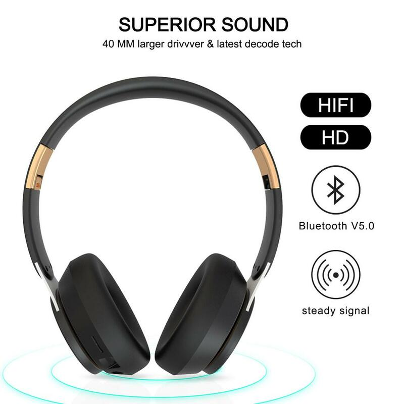 Tourya T7 Wireless Headphones Bluetooth 5 0 Headset Foldable Stereo Adjustable Earphones With Mic For Phone Pc Tv Xiaomi Huawei Bestdealplus
