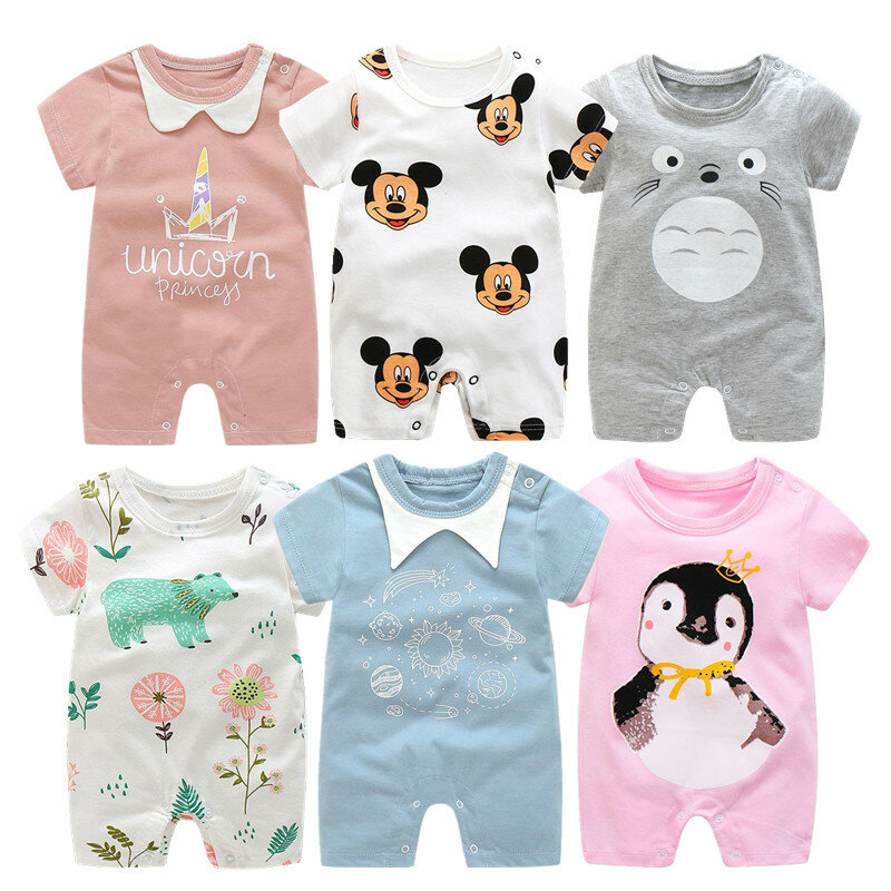 Infant Baby Unisex Kids Short Sleeve Cartoon Rompers Climb One Piece Outfits