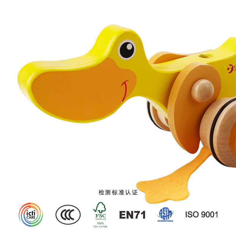 Yellow Toddlers 18 Months to 6 Year Old Kids Wooden Push Pull Activity Walking Toy Duck