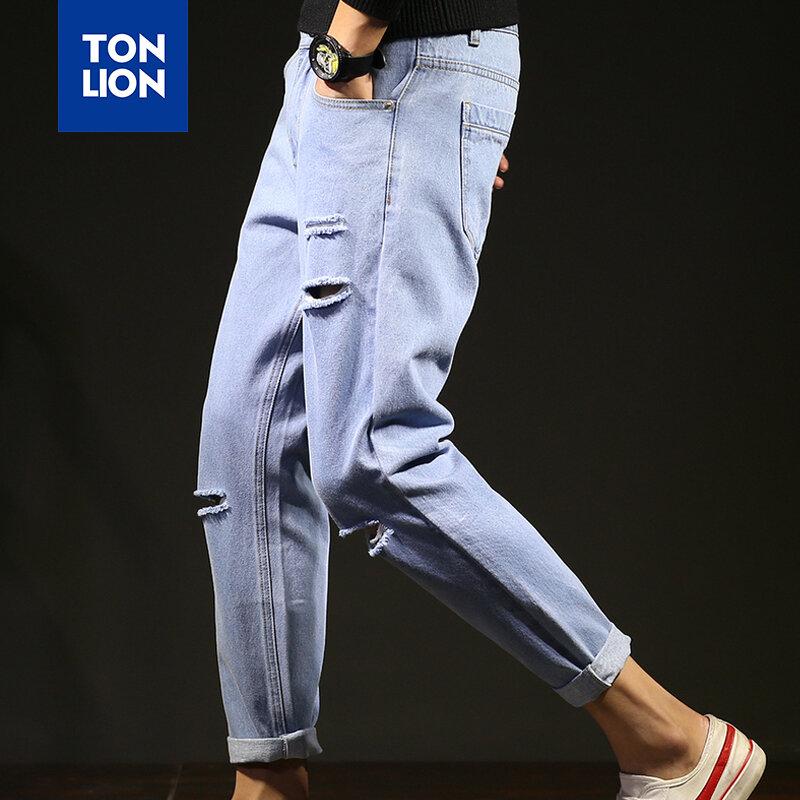 Tonlion Primavera Pantalones Vaqueros Azul Claro Hombres 2020 Pantalones De Lapiz Hip Hop Jeans De Los Hombres Con Bolsillos Laterales Pantalones Calados Para Hombres Autnmn Nuevo Bestdealplus
