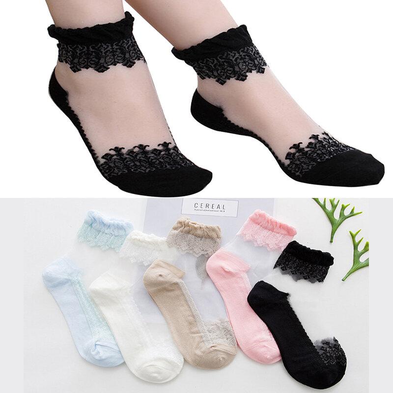 Transparent Soft Breathable Fishnet Socks Lace Flower Mesh Ankle Stockings Silk