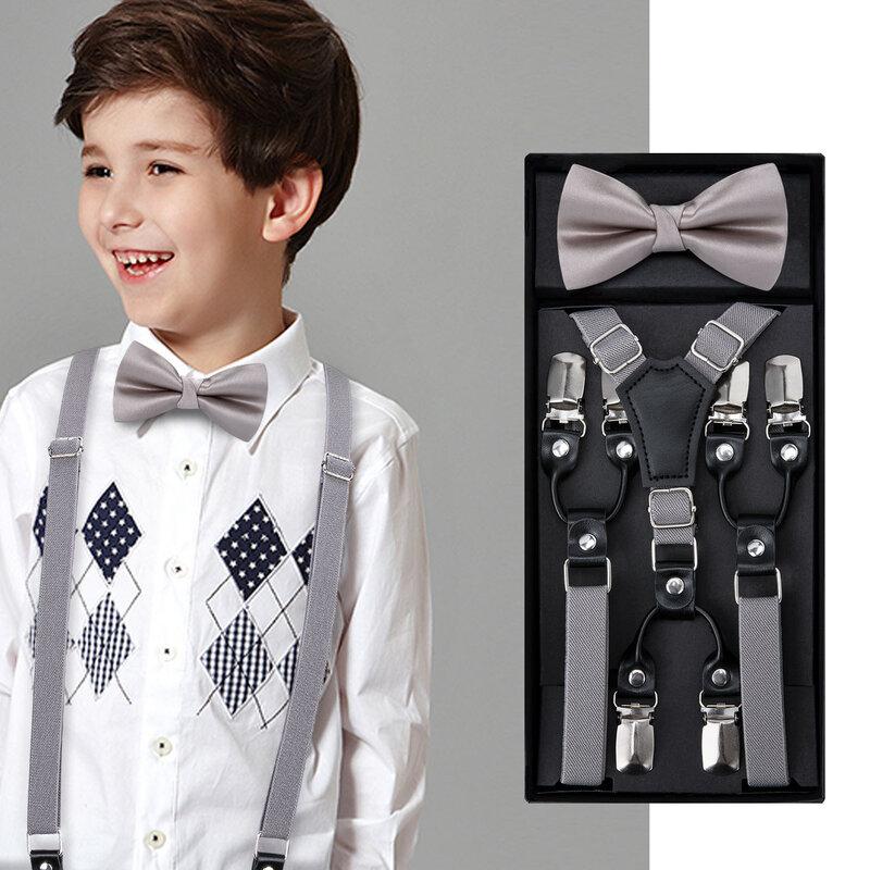 Fashion Adjustable Suspender Set for Kids Boys and Girls Children Suspenders Bow Tie 3 Clip Y Shape Set Solid Color