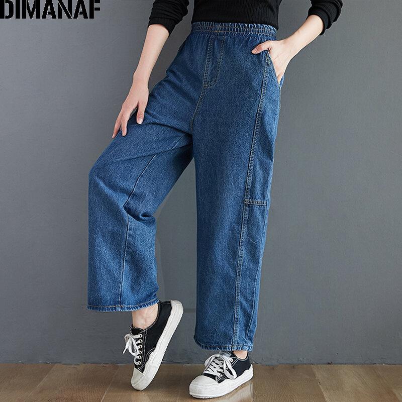 Dimanaf Pantalones Vaqueros De Talla Grande Para Mujer Vaqueros Largos Rectos Sueltos Vintage Azules Con Bolsillo De Cintura Elastica 2021 Bestdealplus