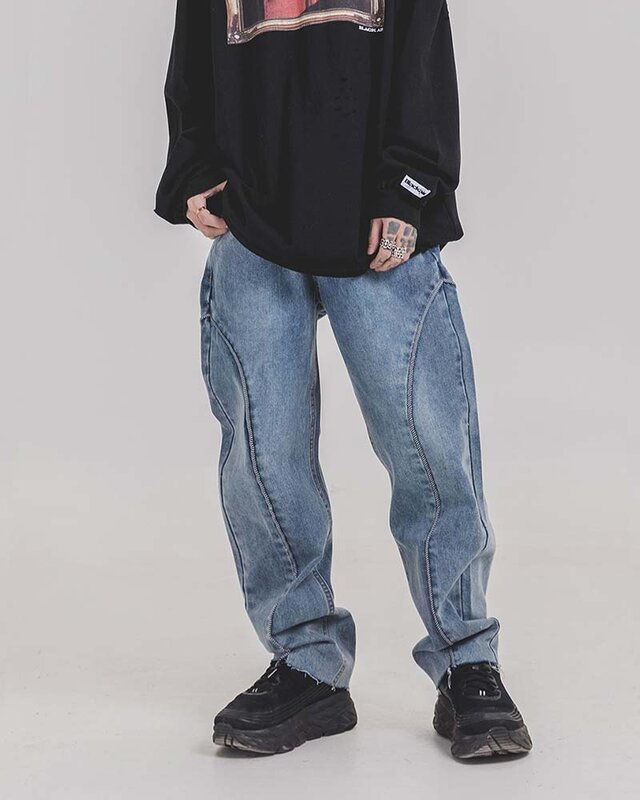 New Men Hip-Hop Skateboard Casual Embroidery Jeans Graffiti Pants