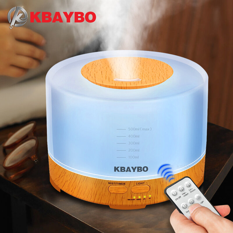 KBAYBO 에센셜 오일 디퓨저 500ml 원격 제어 아로마 안개 초음파 가습기 4 타이머 설정 LED 라이트 아로마 테라피