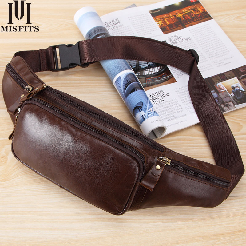 Men's Genuine Leather Crossbody Bag Waterproof travel Anti-theft waist bag Large Capacity Hiking Cell Phone Pocket