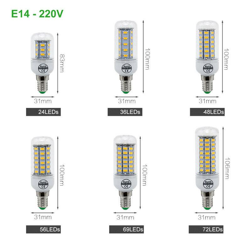 1 pièces E27 lampe à LED E14 LED L'ampoule De Maïs SMD 5730 220V 24 36 48 56 69 72LED s Lustre Lumière De Bougie Pour La Décoration D'éclairage À la Maison