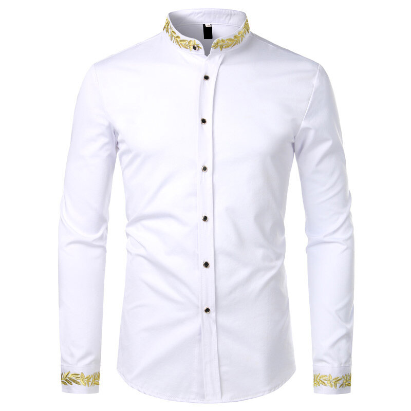 Mstyle Men Long Sleeve Pure Color Stand Collar Regular Fit Formal Nightclub Button Down Shirts