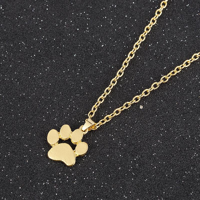 Mode Niedlichen Haustiere Hunde Fußabdrücke Pfote Kette Anhänger Halskette Halsketten & Anhänger Schmuck für Frauen lange halskette