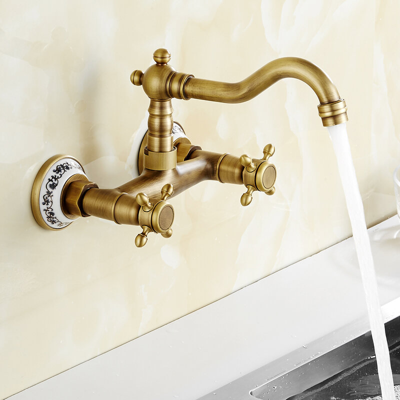 Antique Brass Kitchen Faucet Wall Mounted Mixer Tap Hot And Cold