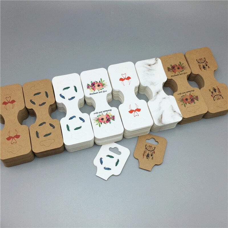 100pcs Necklace Bracelet Jewellery Display Cards Hanging Folding Packaging Holder Hanger Brown