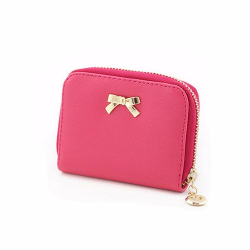 Billeteras con lazo para mujer, monedero con cremallera, bolso de cartera corto, monedero de mano, 2021