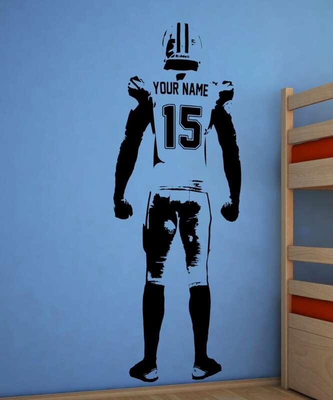 Wand kunst Fußball Wand Aufkleber Dekor Gewohnheit Jersey Name Und Nummer Vinyl Aufkleber American Football Player Personalisierte Aufkleber H-2