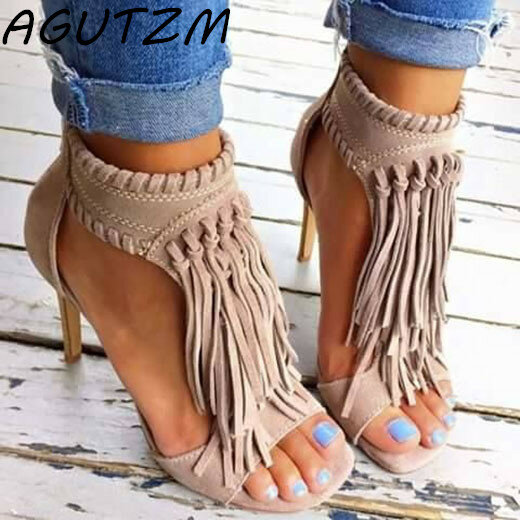 Apricot Sexy Women Tassel Sandals