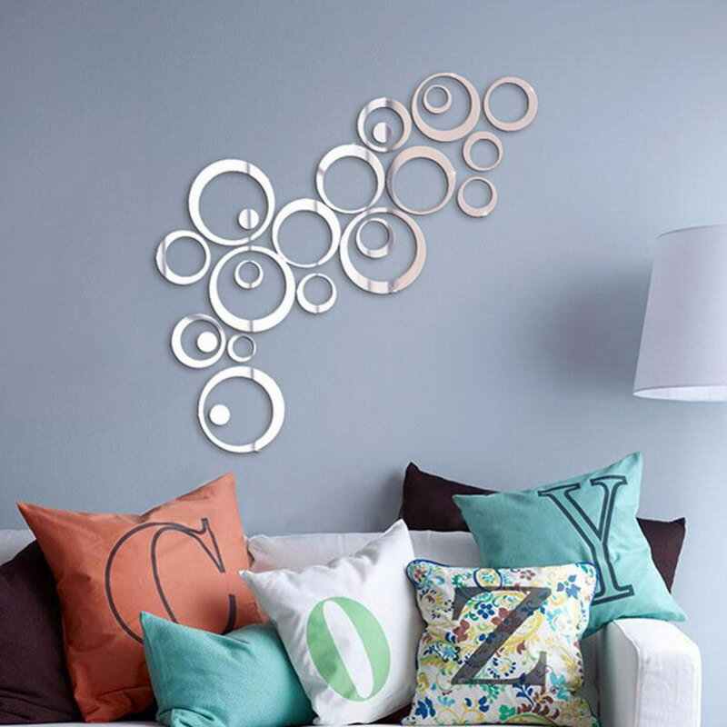 24Pcs 서클 미러 벽 스티커 이동식 데칼 비닐 아트 벽화 룸 장식 홈 Adesivo 드 Parede 드롭 배송