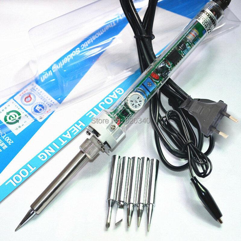 Gj 907 للتعديل ثابت الحرارة التدفئة الكهربائية لحام الحديد لحام الرصاص الداخلي + 5 قطع تلميح 220V60W