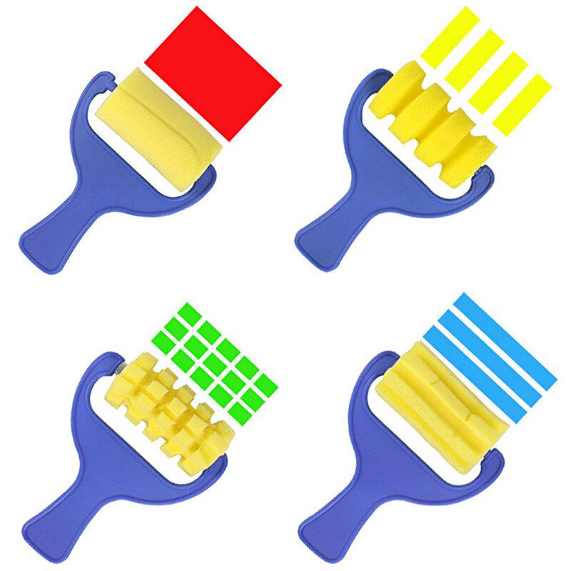 4 pièces/lot amusant éponge enfants peinture pinceaux Graffiti peinture formation jouet en plastique poignée joint éponge dessin brosse jouet éducatif