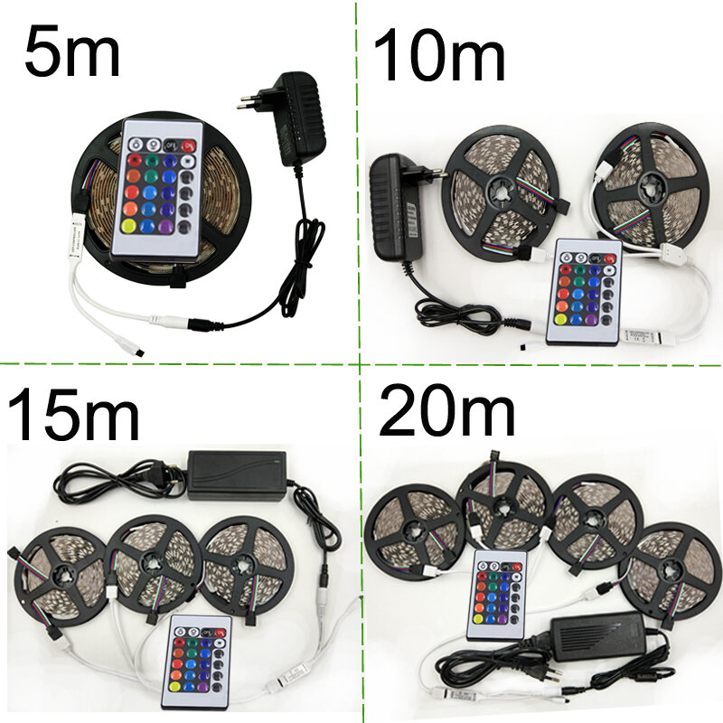 RGB LED Strip Light 3528 SMD2835 Flexible LED Strip Waterproof Tape Diode Ribbon 5M 10M 15M 20M RGB DC12V Stripes Kti Controller