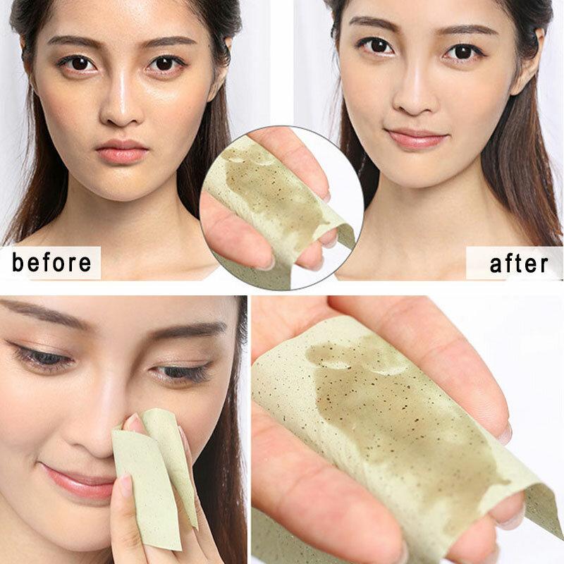 100 blätter/packung Tissue Papiere Grün Tee Geruch Make-Up Reinigung Öl Absorbieren Gesicht Papier Absorbieren Blotting Gesichts Reiniger Gesicht werkzeug