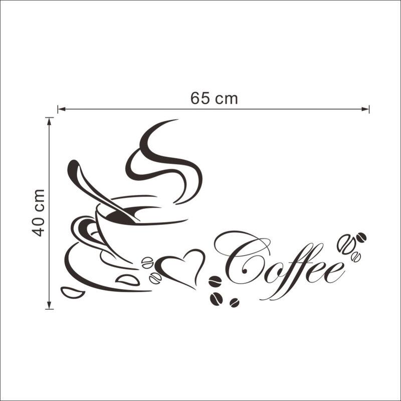 Tazza di caffè con il cuore del vinile quote Cucina del Ristorante Autoadesivi smontabili della parete di DIY della decorazione della casa di arte della parete MURALE di Trasporto di Goccia