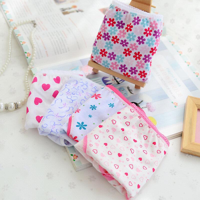 6 قطعة/الوحدة 100% القطن طباعة ملابس داخلية للأطفال الفتيات سراويل داخلية 2-12 سنوات