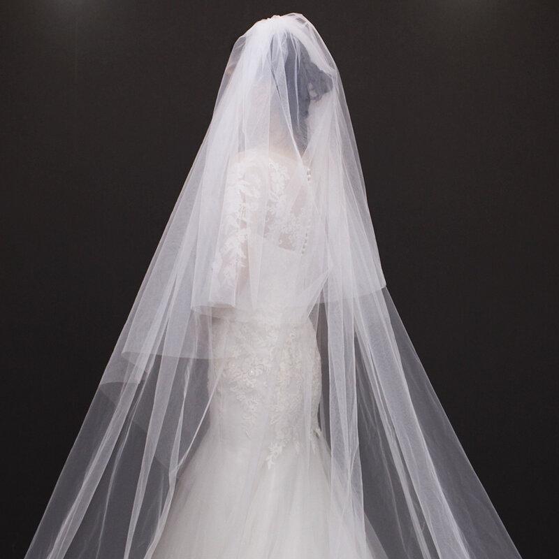 Velos دي novia 3 متر 2 T الأبيض و العاج الترتر Blings تألق الدانتيل حافة Purfle طويل كاتدرائية الزفاف الحجاب