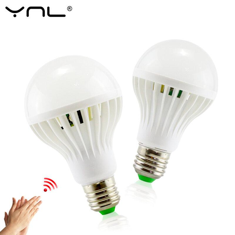 Ynl e27 led 사운드 센서 램프 220 v led 전구 3 w 5 w 7 w 9 w 12 w 화이트 자동 스마트 적외선 바디 센서 빛