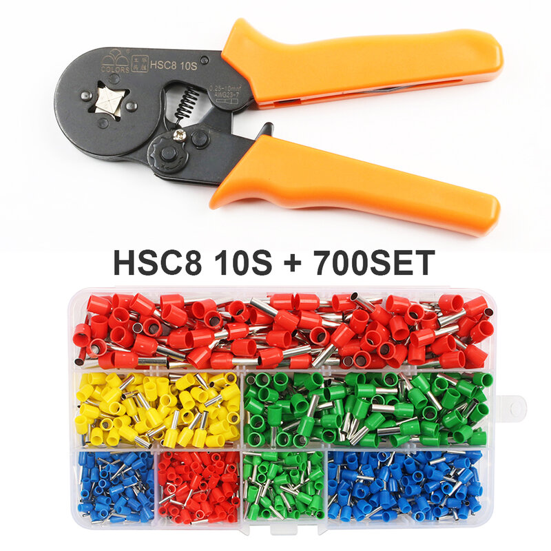 HSC8 6-4A 10S 6-6 مصغرة نوع العقص ذو طيات 0.25-6mm2 محطات العقص أدوات أداة متعددة أدوات الأيدي كماشة hsc8 16-4 6-16mm2