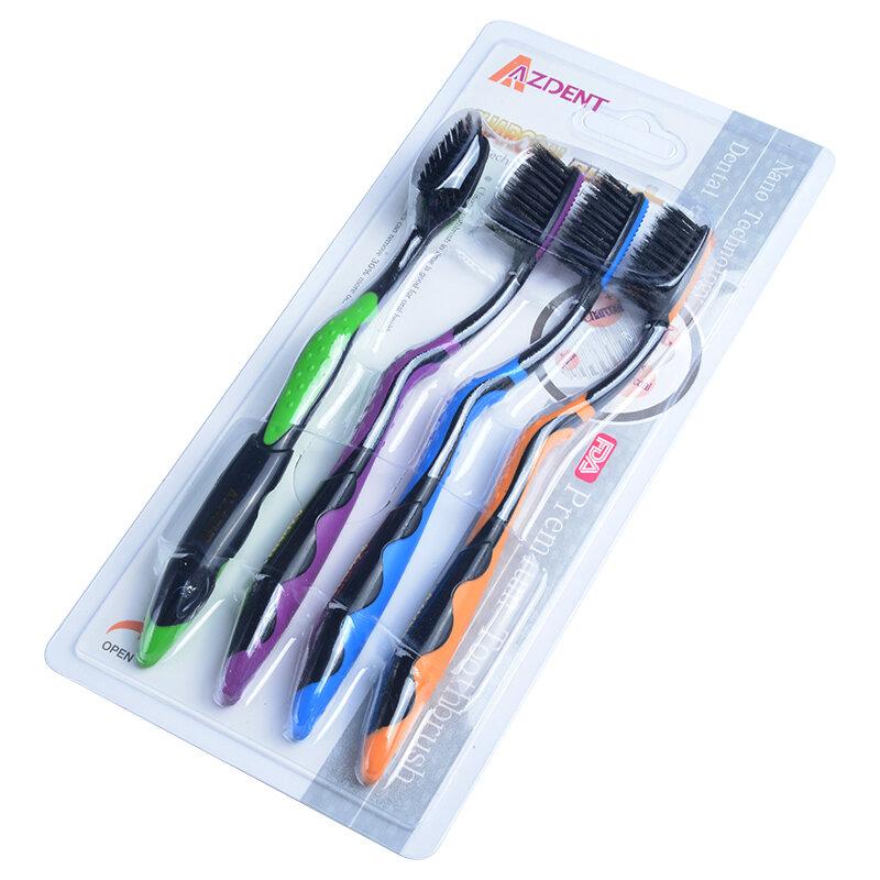 Brosse à dents Double Ultra douce AZDENT 4 pièces charbon de bambou Nano brosse soins bucco-dentaires 625 brosse à dents nano-antibactérienne têtes noires