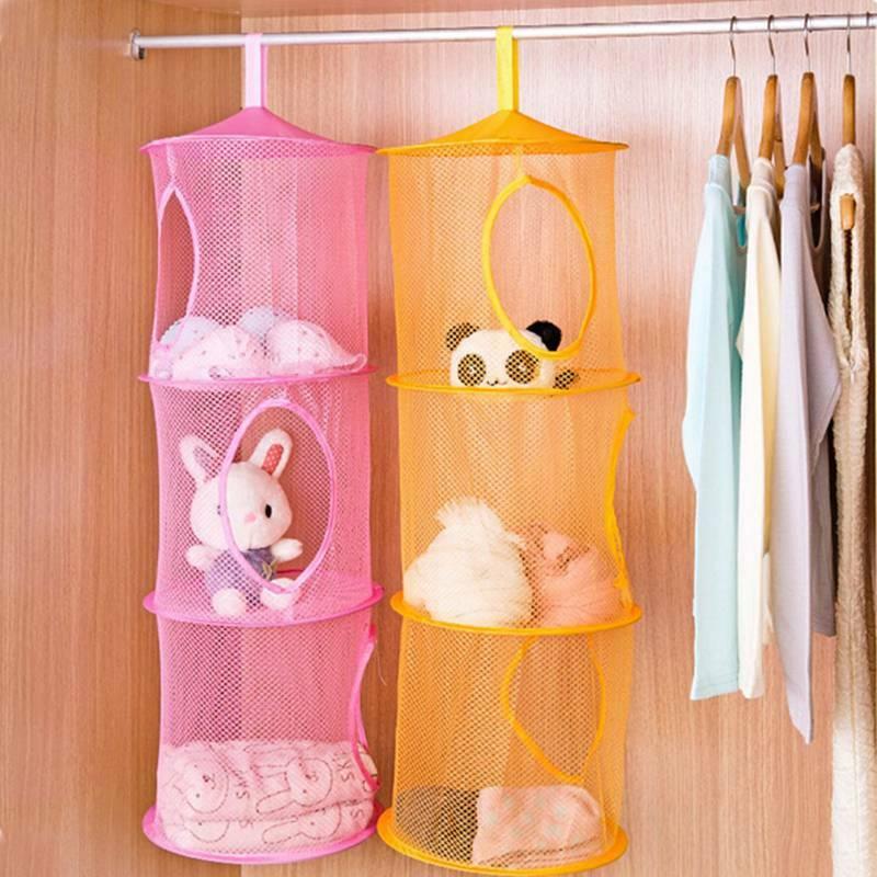 Hanging Mesh Space Saver Bags Organizer 3 Compartments Toy Storage Basket for Kids Room Organization mesh Hanging Bag