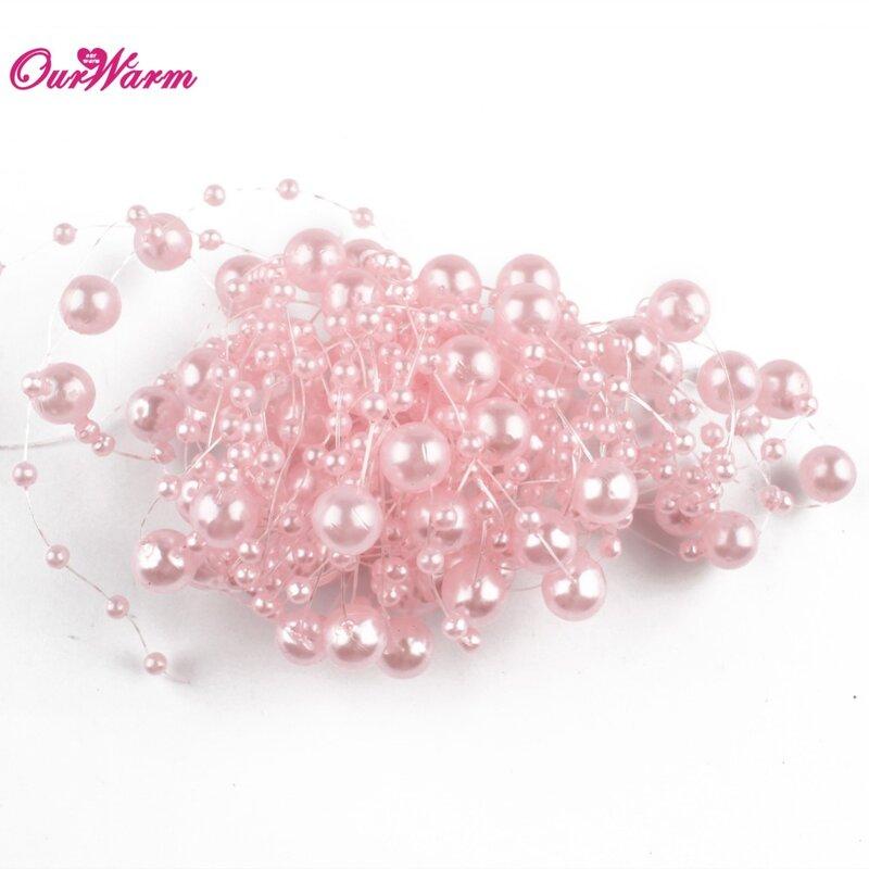 Chaîne de perles artificielles 5 mètres   Ligne de pêche, guirlande de perles, fleurs, décoration de mariage, fournitures de fête, Beige/blanc/rose