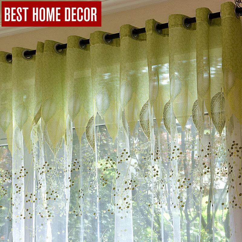 Tende da finestra in Tulle trasparente BHD per soggiorno la camera da letto la cucina tende moderne in Tulle tende in tessuto con foglie verdi