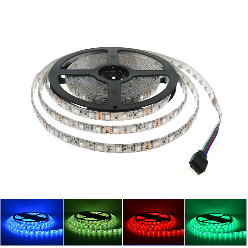 Tira de luces LED 5050 RGB de 12V, iluminación Flexible para decoración del hogar, SMD 5050, cinta LED impermeable RGB/Blanco/blanco cálido/azul/verde/rojo