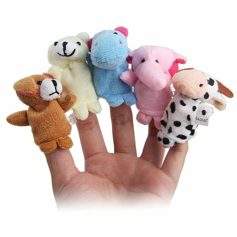 Dégagement!!10 pièces/lot, jouet en peluche bébé/marionnettes à doigts/accessoires de conte (groupe d'animaux 10) poupée animale/jouets pour enfants/cadeau pour enfants