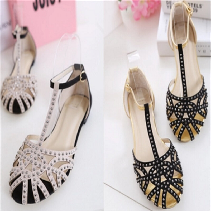 Good-memories pumps Sandals Women Shoes Flock high Heels Rivets Sandals Large Size 34-43 Sandals Summer Fashion Shoes