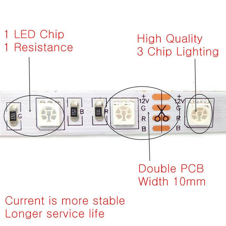 10 m HA CONDOTTO LA Striscia Set SMD 5050 RGB 600LED Flessibile Nastro Della Decorazione Della Casa di Illuminazione 44Key Regolatore di IR 12 v 3A adattatore di Alimentazione