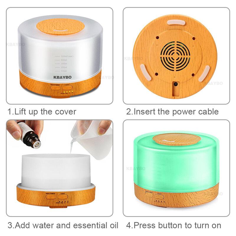 KBAYBO 500ml 초음파 가습기 led 라이트 우드 그레인 에센셜 오일 디퓨저 아로마 테라피 안개 메이커 24V 원격 제어