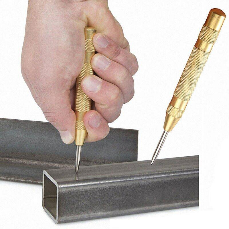 Punzón automático de 5 pulgadas, herramienta de punzón central con resorte cargado de marcado, 1 ud.