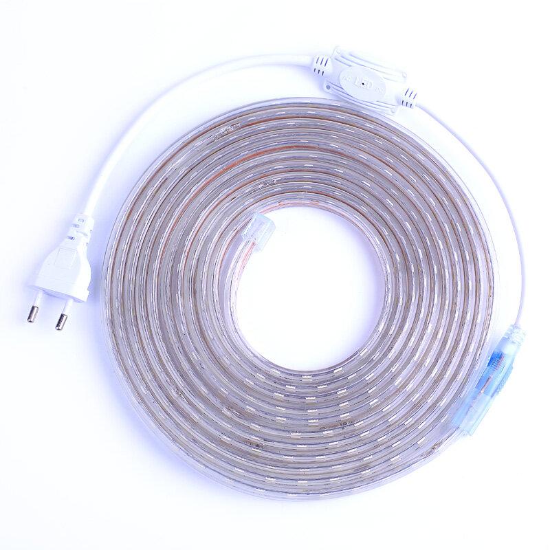 Impermeabile SMD 5050 AC220V HA CONDOTTO La Striscia Flessibile Della Luce 60 leds/m RGB Led del Nastro HA CONDOTTO LA Luce Con Spina di Alimentazione 1 M/2 M/3 M/5 M/6 M/10 M/15 M /25M