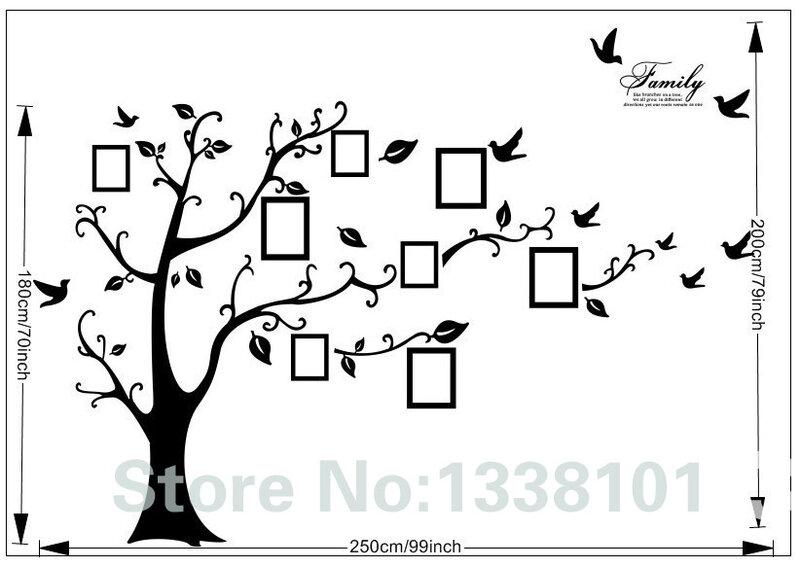 Grand autocollant adhésif en PVC à motif de 200x250cm ou 79x99 cm, motif silhouette d'arbre noire avec cadres photos, décoration pour la maison, art créatif, livraison gratuite