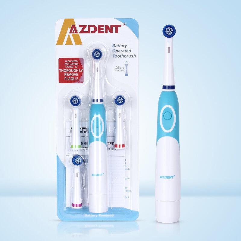AZDENT 회전식 전동 칫솔 배터리 4 개 브러시 헤드로 작동 구강 위생 건강 제품 충전식 칫솔 없음