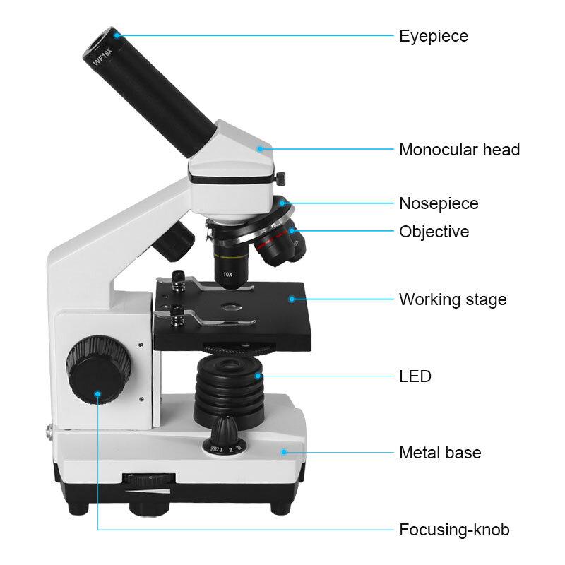 AOMEKIE-microscopio biológico profesional 64X-640X, Monocular LED de arriba/abajo para estudiante de Ciencias, Laboratorio Educativo, hogar, regalo