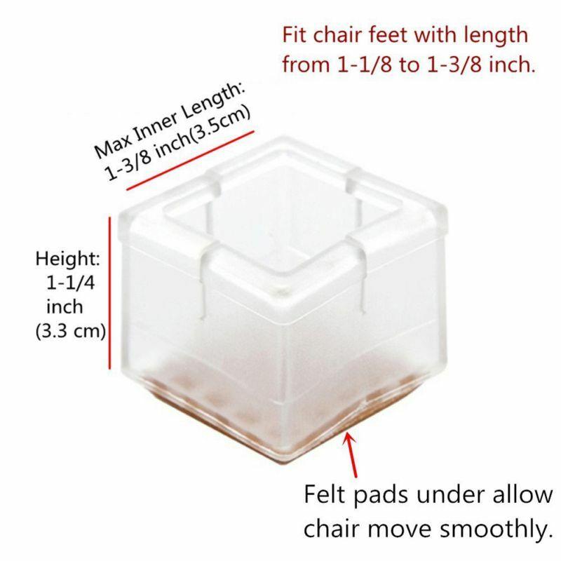 새로운 8 개/대 광장 의자 다리 모자 고무 피트 보호자 패드 가구 테이블 커버