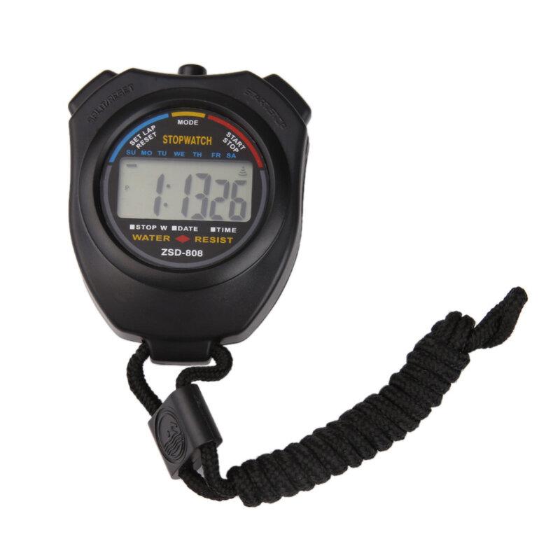 Heiße Handheld Sport Stoppuhr Timer Professionelle Digitale LCD Sport Stoppuhr Chronograph Zähler Timer mit Gurt