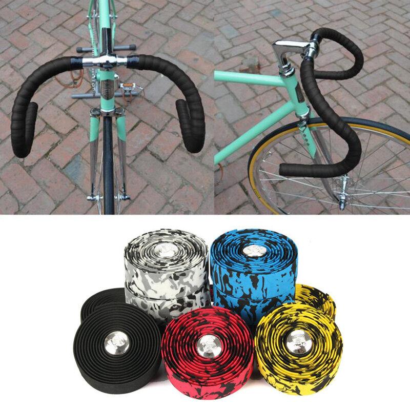Carbon Road Bike Bicycle Handlebar Tape Set Bicycle Straps Decor Cycling Non-Slip Handle Belt Cork wrap with Bar Plugs