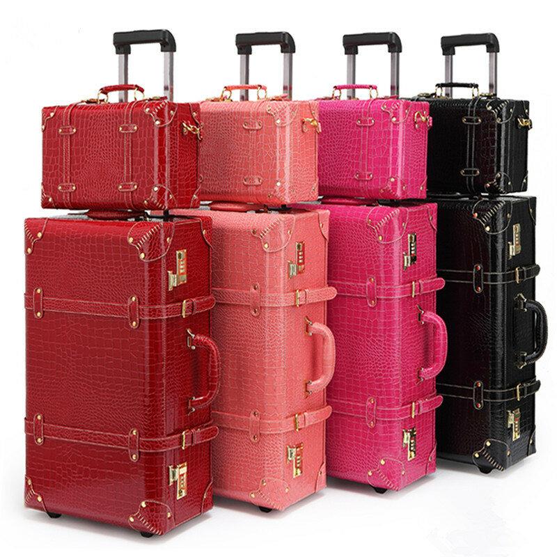 Retro Set valigie borsa da viaggio valigia delle donne degli uomini borse da viaggio, borse di cuoio della scatola DELL'UNITÀ di elaborazione trolley caso Cosmetico, nuovo stile, di blocco, mute,13 22 24