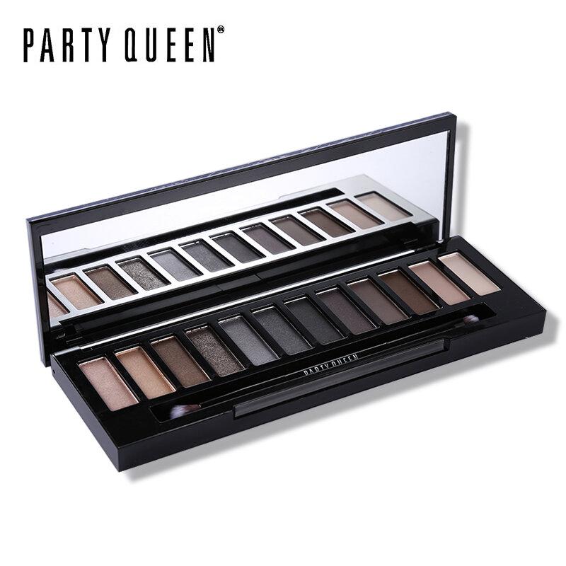 Regina del partito 12 Colori Shimmer Matte Nude Eye Shadow Palette di Trucco Neutro Glitter Smoky Ombretto Con Specchio + Dual Ended spazzola
