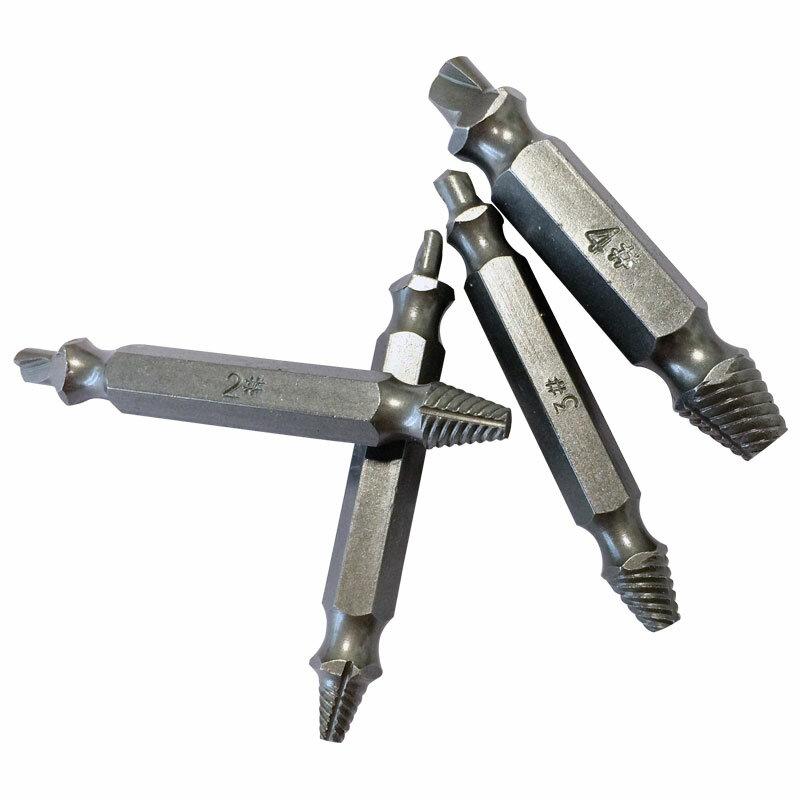 BINOAX 4Pcs Screw Extractor Drill Bit di Guida Set Rotto Danneggiato Bullone di Rimozione Double Ended Danneggiato Screw Extractor 1 #2 #3 #4 #
